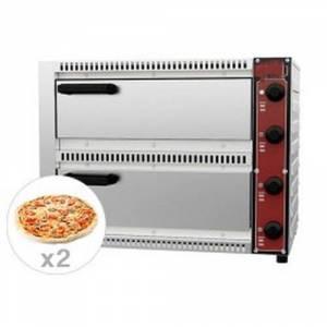 Four à pizza électrique - inox - 2 chambres - 230v - 1+1 de 33,5 cm- neuf - equipementpro