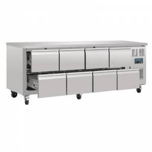 Table réfrigérée 220x70cm - avec 8 tiroirs 1/2 et rebord - en acier inox