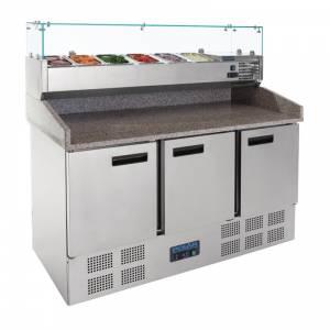 Comptoir de préparation pizza et salade réfrigéré 3 portes 368L