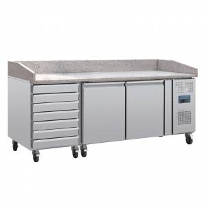 Comptoir à pizza dessus marbre 2 portes 7 tiroirs à pâtons compresseur latéral Polar
