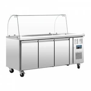 Comptoir de préparation réfrigéré GN avec pare-haleine Polar 4 portes