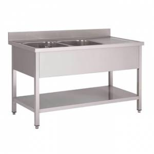 Plonge inox avec étagère basse et emplacement lave-vaisselle