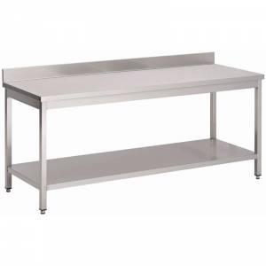 Table inox avec étagère basse et dosseret Gastro M 1600 x 700 x 850mm