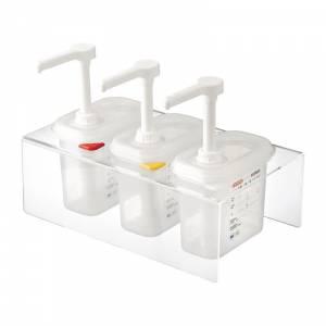 Lot de 3 distributeurs de sauce Araven GN 1/9 transparents 1,5L