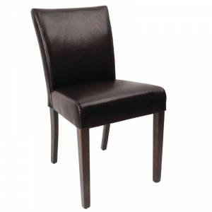 Chaise contemporaine en simili cuir Bolero marron foncé lot de 2