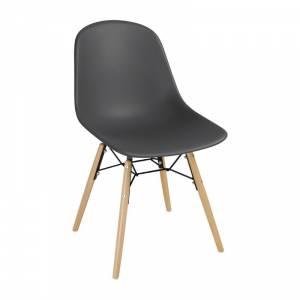 Chaise moulée PP avec structure métallique Arlo Bolero grise (lot de 2)