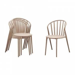 Chaises à barreaux en PP Bolero café