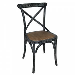 Chaises en bois patiné avec dossier croisé Bolero noires