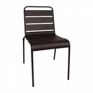 Chaise à lattes en acier Bolero noire lot de 4