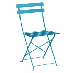 Chaises de terrasse en acier Bolero bleu turquoise