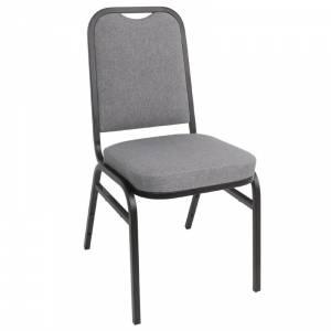 Chaise de banquet avec dossier carré et tissu gris Bolero lot de 4