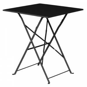 Table de terrasse carrée en acier Bolero noire 600mm