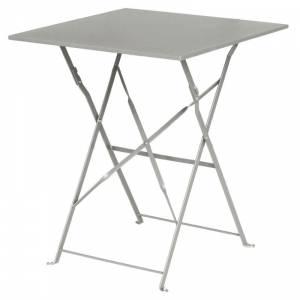Table de terrasse carrée en acier Bolero grise 600mm