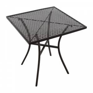 Table bistro carrée en acier ajouré Bolero noire 700mm