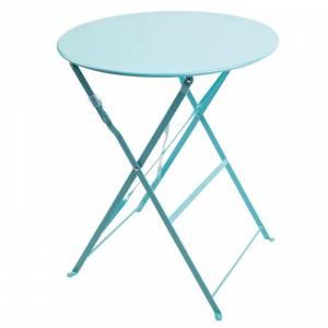 Table de terrasse ronde en acier Bolero bleu turquoise 595mm