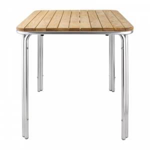 Table carrée en frêne et aluminium Bolero 700mm
