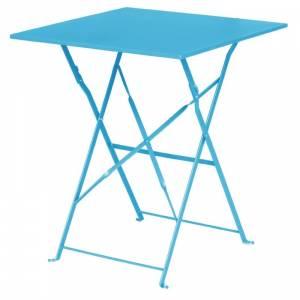 Table de terrasse carrée en acier Bolero bleu turquoise 600mm