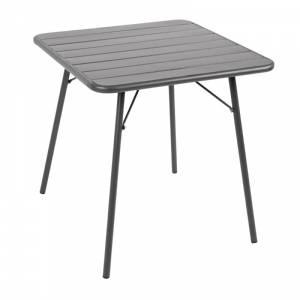 Table à lattes carrée en acier Bolero 700mm grise