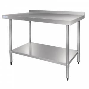 Table de préparation 150 x 60 cm avec rebord en acier inoxydable Vogue