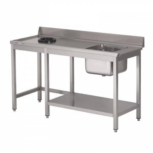 Table d'entrée lave-vaisselle inox avec bac à gauche TVO dosseret et tablette inférieure Gastro M 1000 x 700mm