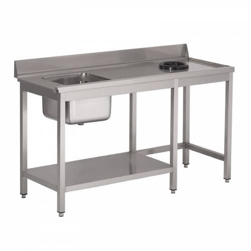 Table d'entrée lave-vaisselle inox avec bac à droite TVO dosseret et tablette inférieure Gastro M 850x1400x700mm