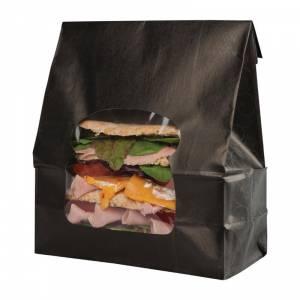 Sacs sandwich kraft recyclables noirs avec fenêtre Colpac (lot de 250)