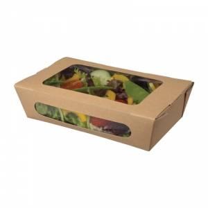 Barquettes à salade kraft recyclables avec fenêtre 1000ml (lot de 200)