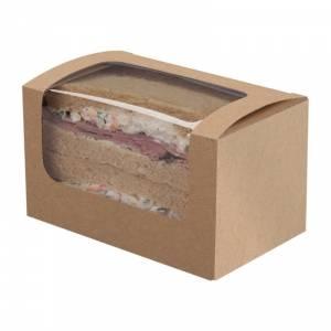 Boîtes sandwich rectangulaires kraft compostables avec fenêtre PLA Colpac (lot de 500)