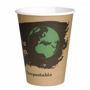 Gobelets boissons chaudes PLA simple paroi compostables 34 cl Fiesta Green (x1000)