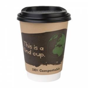 Couvercles gobelets boissons chaudes CPLA compostables Fiesta Green 34 cl