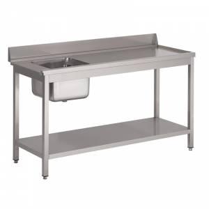 Table d'entrée lave-vaisselle 850x1000x700mm inox avec bac à gauche dosseret et tablette inférieure Gastro M