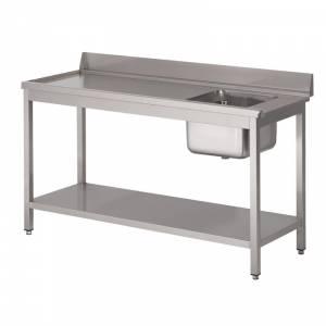 Table d'entrée lave-vaisselle 850x1400x700mm inox avec bac à gauche dosseret et tablette inférieure Gastro M