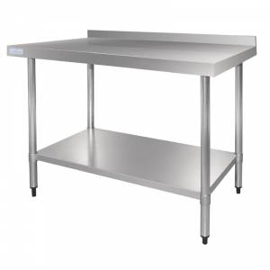 Table en acier inoxydable 600 x 1800mm avec rebord Vogue