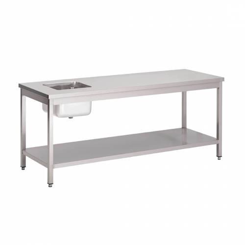 Table du chef inox 200 x 70 cm avec étagère basse Gastro M