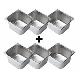 Lot de 2 Bacs inox GN2/3 Vogue 20mm