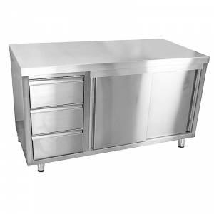 Armoire de travail 200 x 70 cm en inox - Avec 3 tiroirs à gauche