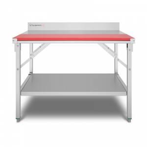 Table de travail 100x70cm en inox avec rebord avec étagère basse Equipementpro